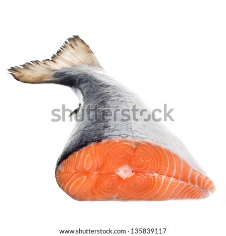 salmon on a white background. tail - stock photo