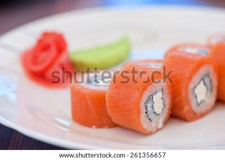 Salmon roll sushi tasty food - stock photo