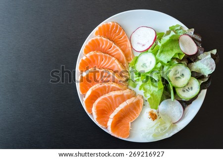 Salmon salad japanese food style - stock photo