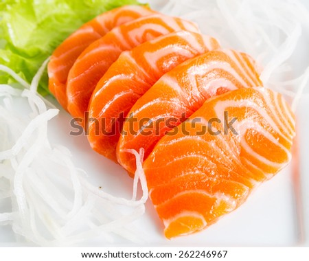 Salmon sashimi - japanese food. - stock photo