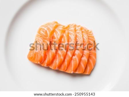 Salmon sashimi, japanese food in plate with wasabi - stock photo