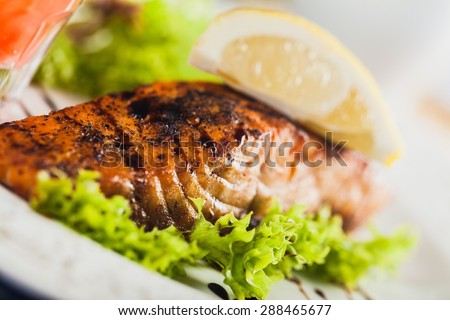 Salmon, Seafood, Salmon Steak. - stock photo