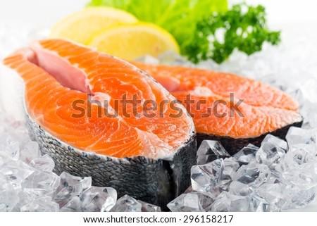 Salmon, Seafood, Salmon Steak. - stock photo