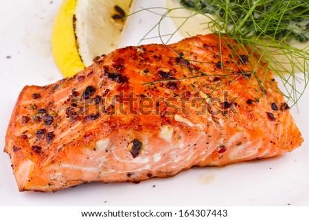 Salmon steak with mashed potatoes - stock photo