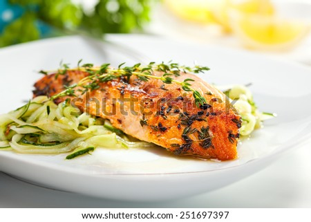 Salmon Steak with Zucchini Noodles - stock photo