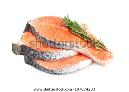 Salmon steaks with rosemary, isolated on white background - stock photo