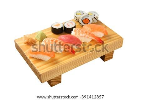 Salmon Sushi isolated on white background - stock photo