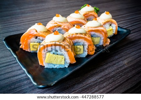 Salmon sushi, Japanese food delicious menu, vignette effect - stock photo