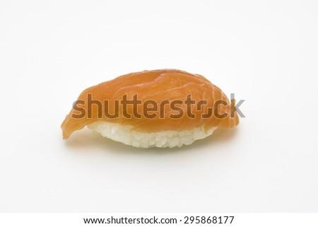 salmon sushi on white background - stock photo