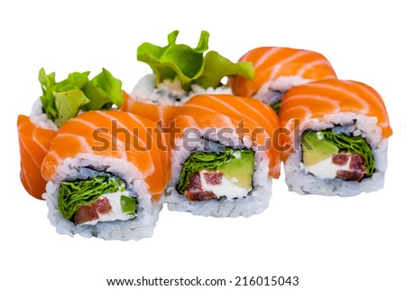 Salmon sushi rolls isolated on white background - stock photo
