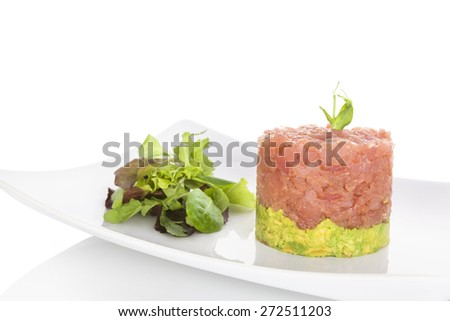 Salmon tartare. Delicious seafood healthy eating. - stock photo