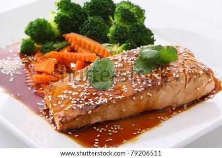 Salmon Teriyaki - stock photo