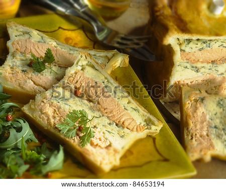 Salmon terrine in pastry crust - stock photo