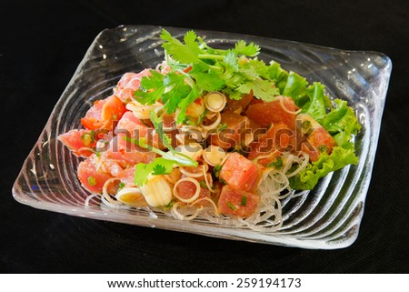 Salmon thai salad japan food restaurant in thailand  - stock photo