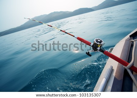 Salmon trolling in Sea Japan. Early in the morning. - stock photo