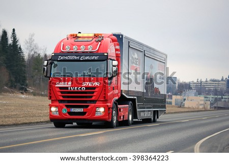SALO, FINLAND - MARCH 24, 2016: Red Iveco Stralis Semi on the road in Salo after the Case IH Red Power Tour in Turku, Finland.  - stock photo