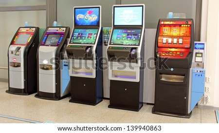 SALO, FINLAND - MAY 26, 2013: A RAY slot machine in Salo, Finland on May 26, 2013. In 2013, RAY gives over  301 Million Euro of its profits to health and social welfare organizations. - stock photo
