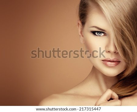Salon hairstyle fashion model. - stock photo