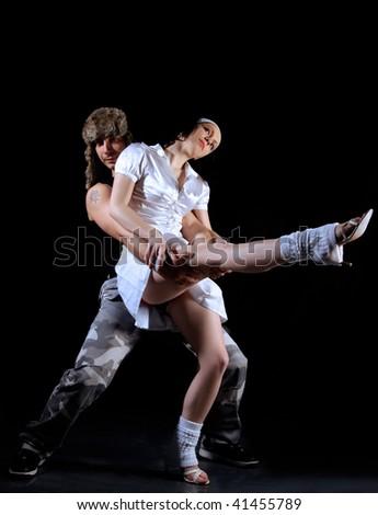 salsa dancing couple on move - stock photo