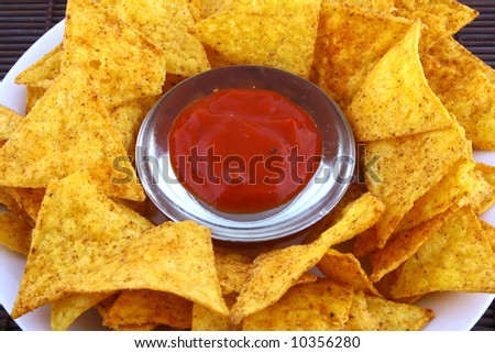 salsa dip in a bowl - stock photo