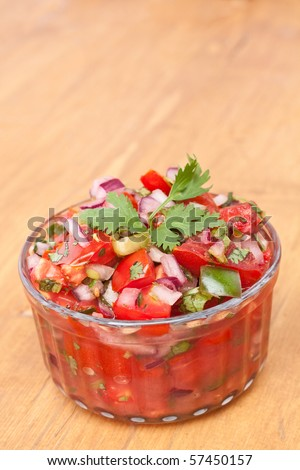 Salsa with Tomatoes, Onions, and Cilantro - stock photo
