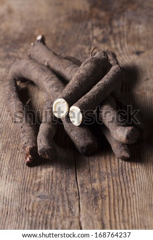 salsify vegetables on wood  - stock photo