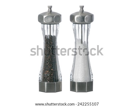 Salt and pepper grinders standing up isolated - stock photo