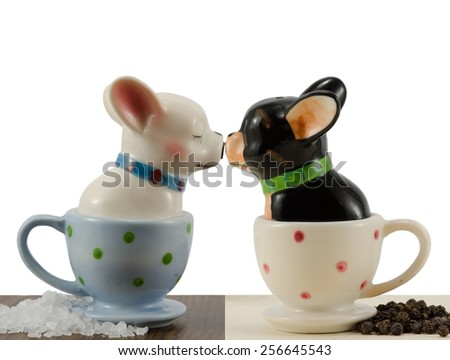Salt and pepper shakers french bulldog - stock photo