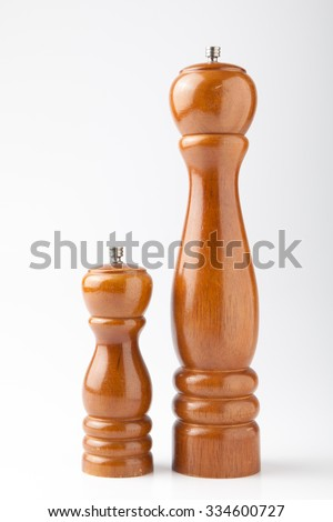 Salt and pepper shakers isolated on the white background - stock photo