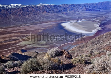 Salt Badwater Basin Panamint Mountains from Dante's View Death Valley National Park California Lowest spot in the Western Hemisphere 282 Feet below Sea Level from Highest Point in Death Valley - stock photo