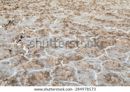 Salt Crystals Texture, Badwater Basin, Death Valley National Park - stock photo