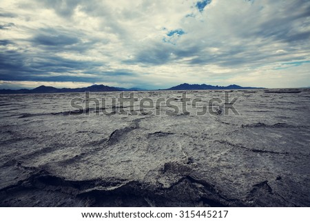 Salt desert in Utan,Bonneville - stock photo