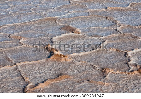 Salt, environment erosion problem, dry salty field texture background - stock photo