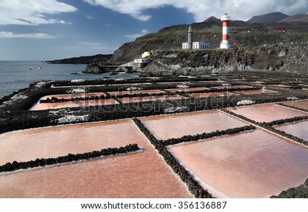 Salt evaporation ponds in front of Faro de Fuencaliente (Canary Islands) - stock photo