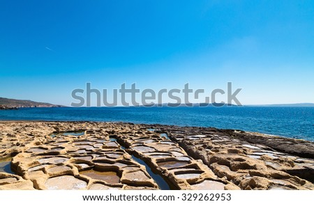 Salt evaporation ponds off the coast of Gozo,Malta.Xatt l-Ahmar - stock photo