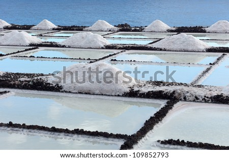 Salt extraction plant at salinas. - stock photo