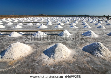 Salt Farm in Thailand, Samutsongkhram. - stock photo