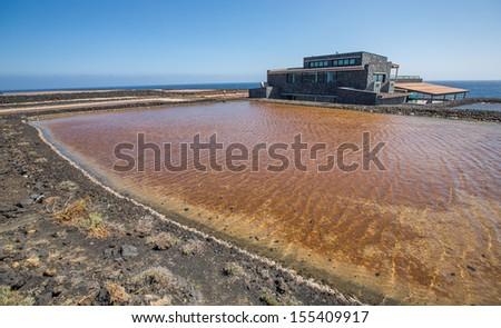 salt fields in La Palma, Canary islands, Spain - stock photo