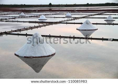 Salt flats in Asia - stock photo