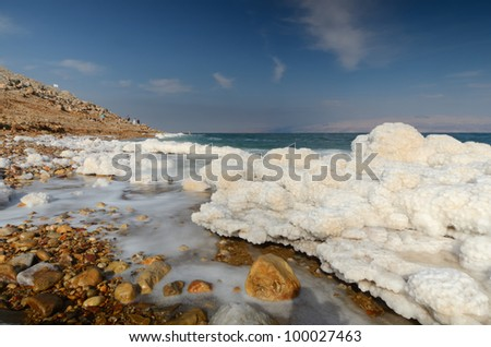 Salt formations in the Dead sea of Israel. - stock photo
