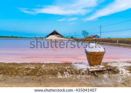 Salt in bastket in salt farm at Phetchaburi,Thailand - stock photo