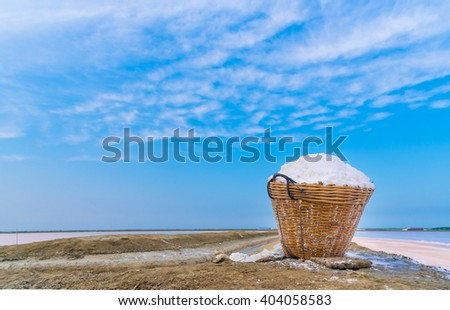 Salt in bastket of salt farm at Phetchaburi,Thailand - stock photo