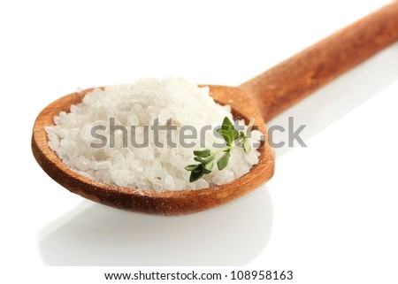 salt in spoon with fresh  thyme isolated on white - stock photo