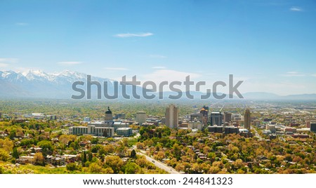 Salt Lake City panoramic overview on a sunny day - stock photo