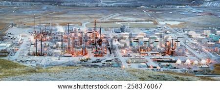 SALT LAKE CITY, USA - FEBRUARY 20, 2015: Chevron oil refinery at night - stock photo