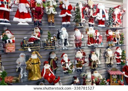 SALT LAKE CITY, USA - NOVEMBER 13, 2015: Shelves with Santa Claus in the store - stock photo