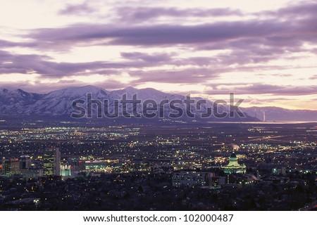 Salt Lake City, Utah at twilight - stock photo