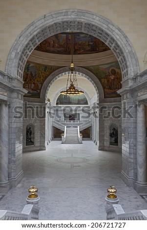 SALT LAKE CITY, UTAH - JULY 09, 2014: Interior of the Utah State Capitol building on Capitol Hill in Salt Lake City, Utah. - stock photo