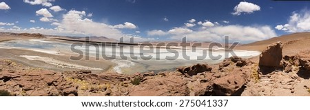 Salt lake in Atacama  desert - stock photo