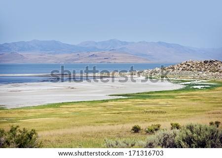 Salt Lake Scenery. Scenic Salt Lake Landscape, Utah, United States. - stock photo